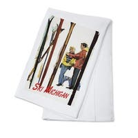 Ski Michigan Couple by Skis in the Snow LP Artwork (100% Cotton Towel Absorbent)