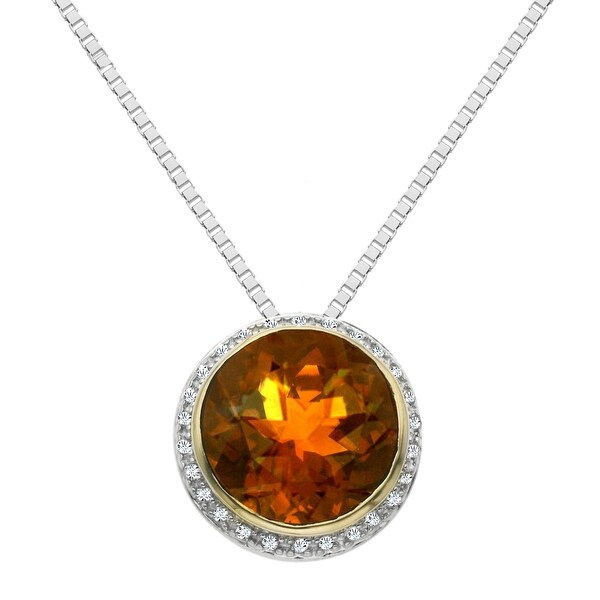 6 3/4 ct Natural Whiskey Quartz & 1/8 ct Diamond Pendant in Sterling Silver & 14K Gold