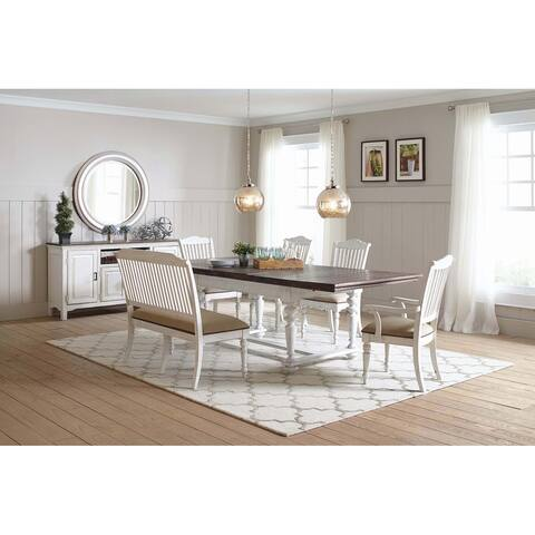 Emmery Linen and Vintage White 5-piece Rectangle Dining Set