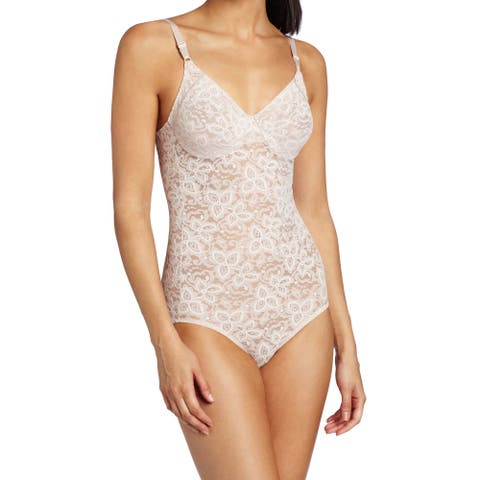 Bali Womens Shapewear Rosewood Beige Size 38DD Lace N Smooth Body Suit