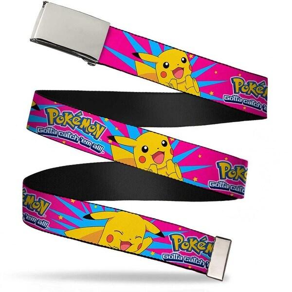 Blank Chrome Buckle Pokemon Logo Pikachu Happy Poses Starburst Pinks Web Belt