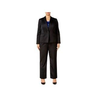 Le Suit Womens Plus Pant Suit 3PC Pinstripe