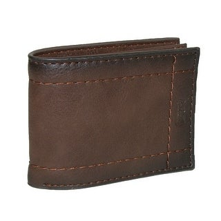 Levis Men's Leather Extra Capacity Semifold Bifold Wallet - Brown - One Size