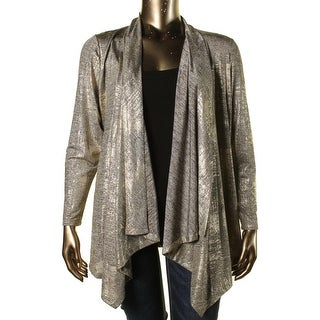 Calvin Klein Womens Draped Metallic Cardigan Top - XL
