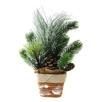 "12"" Artificial Iced Pine Needles and Pine Cones in Burlap Basket Christmas Decoration"