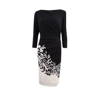 Lauren Ralph Lauren Women\u0027s Floral Long Sleeve Jersey Dress - Black/Cream