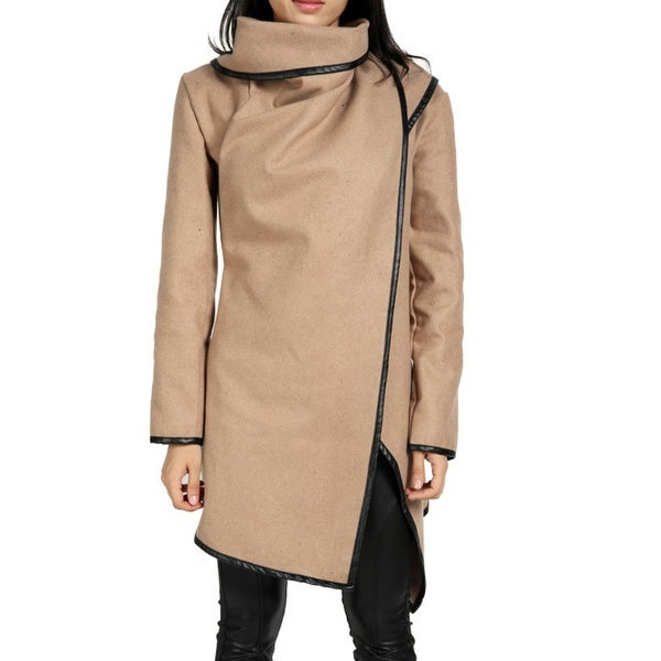 Women's Wool Jacket Wide-necked irregular wool-blend trench coat with a winter warm jacket