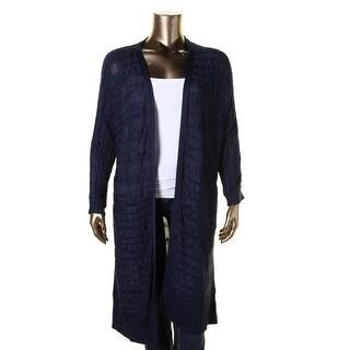 Lauren Ralph Lauren Womens Plus Cardigan Top Cable Knit Stretch