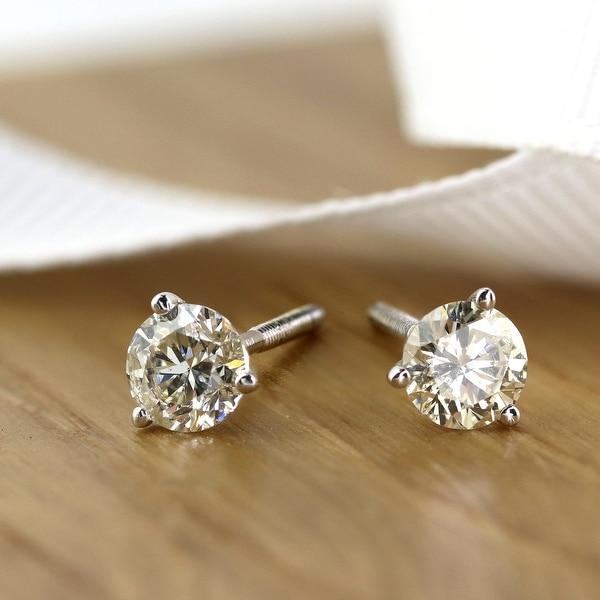 Auriya 0.60ctw Round Diamond Stud Earrings 14k Gold Martini-set. Opens flyout.