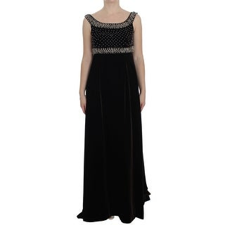 Dolce & Gabbana Dolce & Gabbana Brown Velvet Crystal Sheath Gown Dress - it40-s