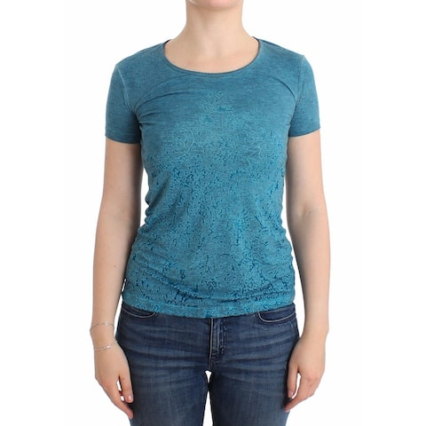 Ermanno Scervino Blue Rayon Printed T-shirt Blouse Women's Top - it42-s