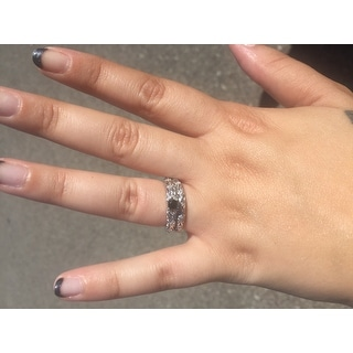 Miadora Sterling Silver 1/3ct TDW Diamond Filigree Vintage Bridal Ring Set