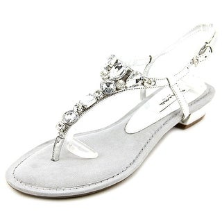 Nina Kelisha Women Open-Toe Synthetic Silver Slingback Sandal