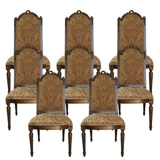 Manchester Arm Dining Chair with Fabric Back - Set of 8 - Brown