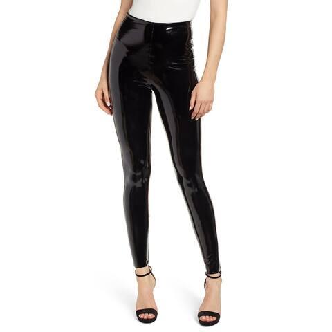 Spanx Womens Solid Black Faux Patent Skinny Leggings Pants