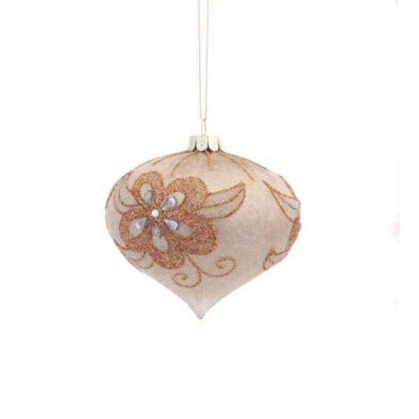 "3.5"" Brushed Peachy Gold Floral Christmas Glass Onion Ornament"