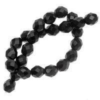 Czech Fire Polished Glass Beads 8mm Round Jet Black (25)
