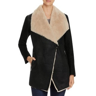 Calvin Klein Womens Coat Faux Fur Piping - L