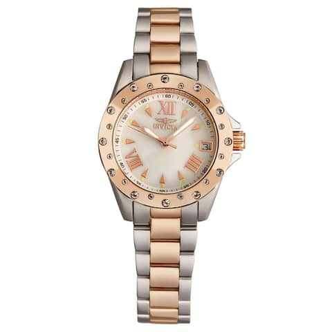 Invicta Women's 12856 'Angel' Mother of Pearl Dial Two-Tone Quartz Watch