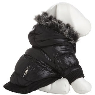 Metallic Fashion Pet Parka Coat, Metallic Black, Medium