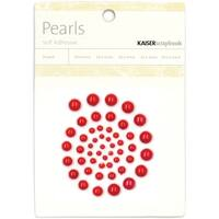 Self-Adhesive Pearls 50/Pkg-Red - Red