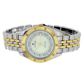 Mens Two Tone Watch Classy Jubilee Band 0.10 Real Diamonds Analog Display