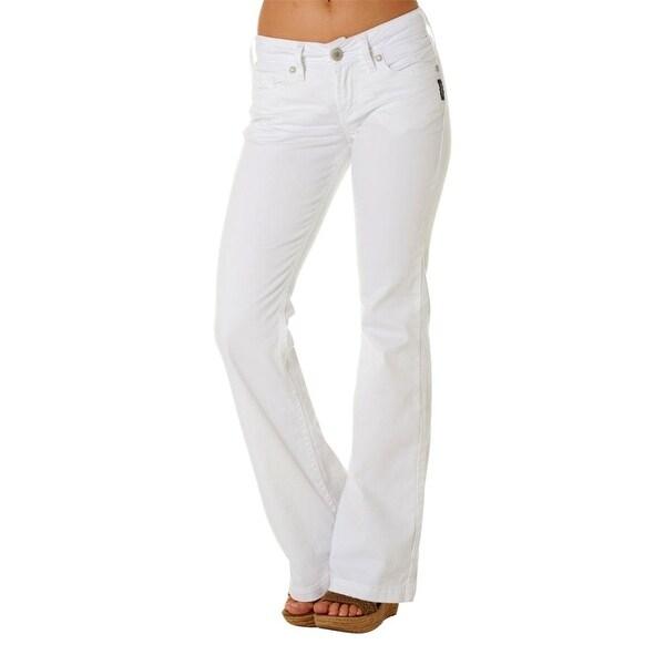 Silver Jeans Denim Womens Suki Mid Rise Flare White L93801SSWWHT