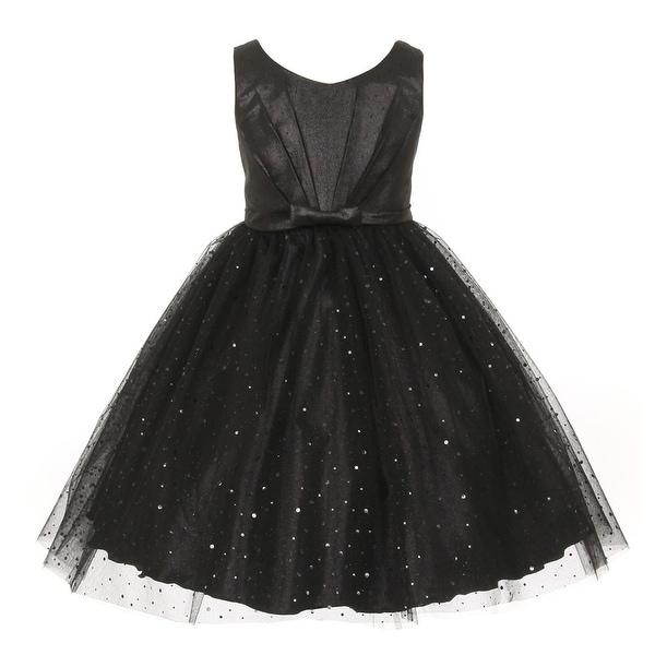 cace95d786d2 Shop Kids Dream Big Girls Black Bodice Bow Sparkle Tulle Occasion ...