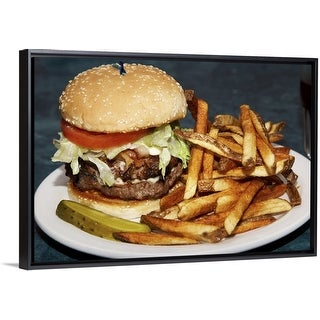 """Double burger served with french fries and a slice pickle"" Black Float Frame Canvas Art"