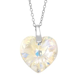 Crystaluxe Heart Pendant with Aurora Borealis Swarovski Crystal in Sterling Silver
