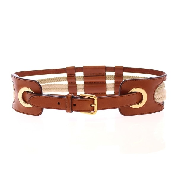 Dolce & Gabbana Brown Leather Logo Straw Belt