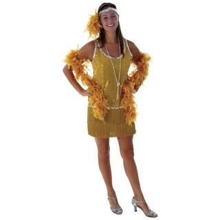 Sequin & Fringe Gold Flapper Costume