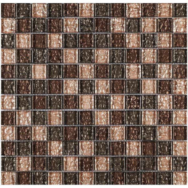 Tilegen Grid 1 X Gl Mosaic Tile In Beige Brown Wall 10 Sheets 9 6sqft
