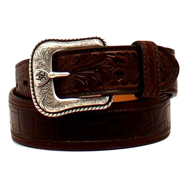 Ariat Western Belt Mens Croco Floral Shield Tooled Brown