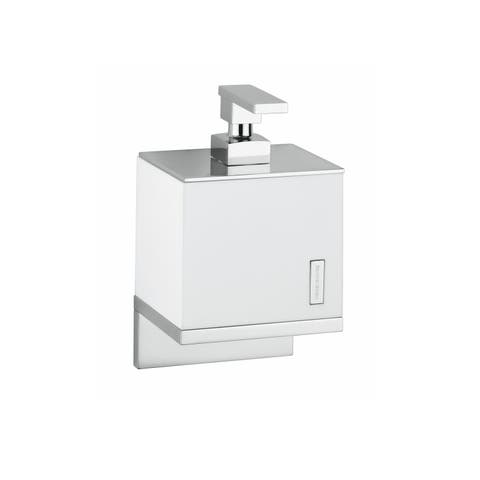 WS Bath Collections Demetra 1933 Modern Wall Mounted Soap Dispenser from the Demetra Collection - White / Chrome