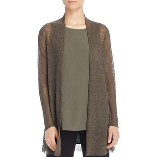 Eileen Fisher Womens Cardigan Sweater Hemp Sheer - m