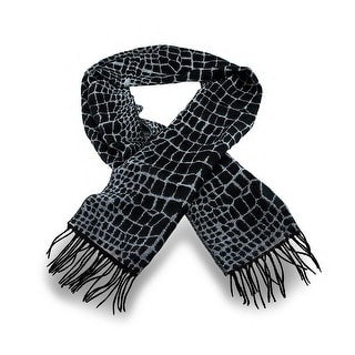 Black / White Crocodile Print 100% Cashmere Winter Scarf