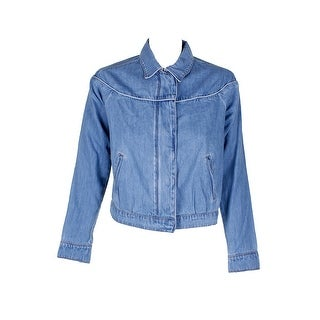 Shop William Rast Blue Zip Up Snap Denim Jacket S Free Shipping On