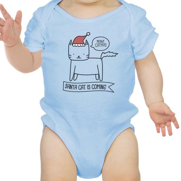 Meowy Catmas Santa Cat Cute Graphic Baby Bodysuit Blue Cotton Top