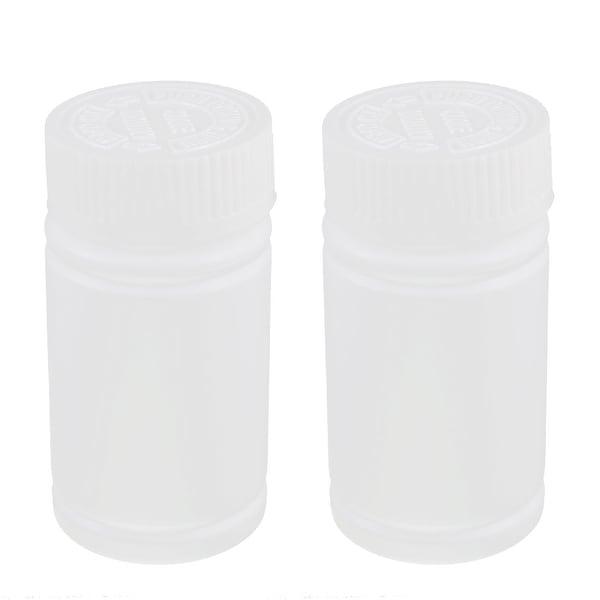 Plastic White Medicine Bottle Pill Box Chemical Reagent Container 2pcs