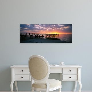 Easy Art Prints Panoramic Images's 'Pier on the beach, Crystal Beach, Florida, USA' Premium Canvas Art