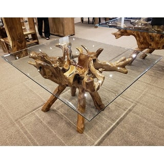 "Link to Chic Teak Rustic Teak Wood Root Dining Table Including a 55"" x 43"" Glass Top Similar Items in Dining Room & Bar Furniture"