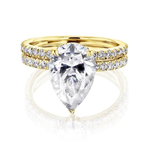 Annello by Kobelli 14k Gold Moissanite Wedding Ring Set (FG/VS, DEF/VS)