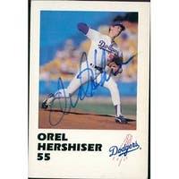 Signed Hershiser Orel Los Angeles Dodgers 1988 Police Promo card autographed