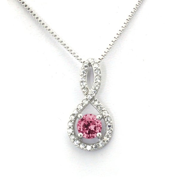 Sterling Silver Figure 8 Rose CZ Color Center (October Birth) Stone Pendant - 18 inches
