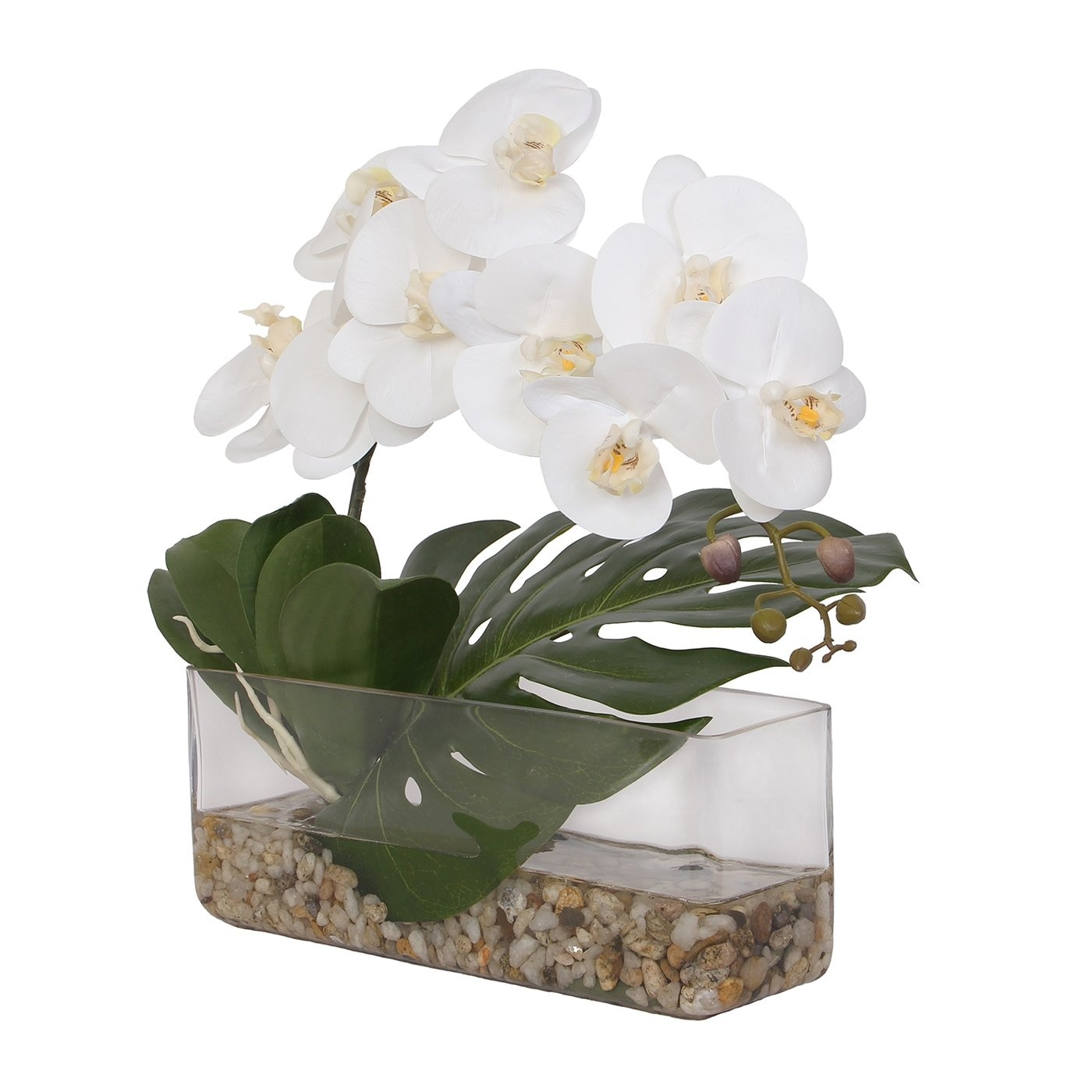Real Touch White Phalaenopsis Orchid Philo Leaf Pebbles In Vase 16w X 20d X 32h Overstock 31444991