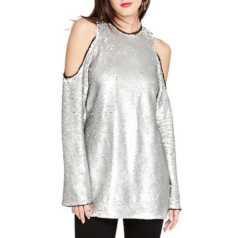 Rachel Rachel Roy Silver Women's Size XS Cold-Shoulder Sequin Top