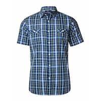 Cremieux Men's Classics Slim Fit Dual Pocket Plaid Shirt - Navy