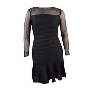 Lauren Ralph Lauren Women's Illusion Long Sleeve Ruffled Dress - Black