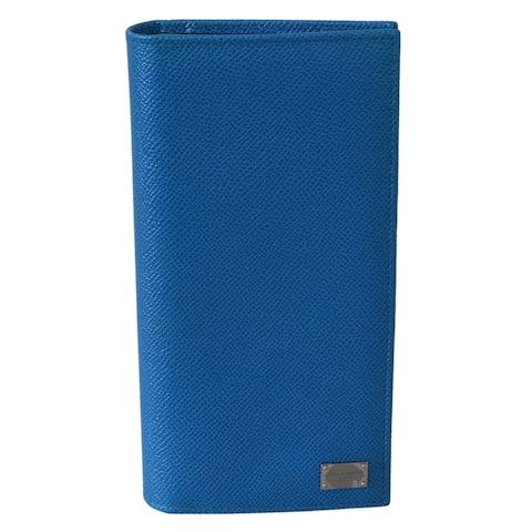 Dolce & Gabbana Blue Solid Bifold Mens Card Holder 100% Leather Men's Wallet - one-size